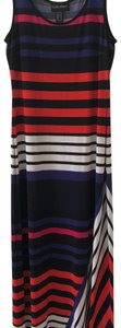 Black with Multi colored stripes Maxi Dress by Frank Lyman