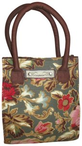 Longaberger Cotton Canvas Floral Tote in brown & green multi