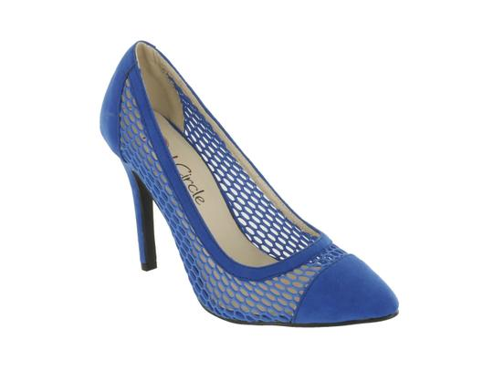 Red Circle Footwear Mesh Pointy Blue Pumps Image 1