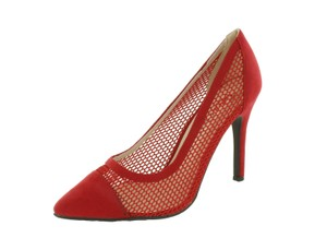 Red Circle Footwear Mesh Pointy Red Pumps
