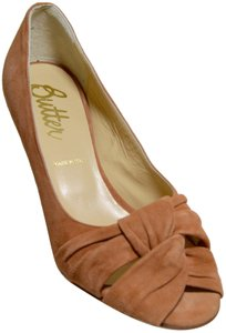 Butter New Suede Italian All Leather Caramel Pumps