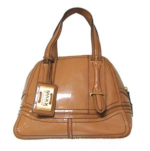 Maxx New York Patent Leather Dome Classic Satchel in Tan