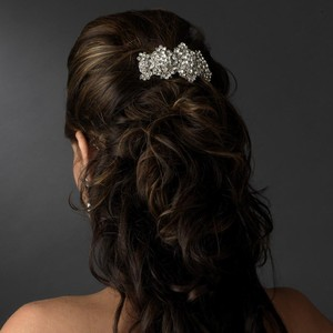Elegance by Carbonneau Silver Clear Barrette Hairpiece Hair Accessory