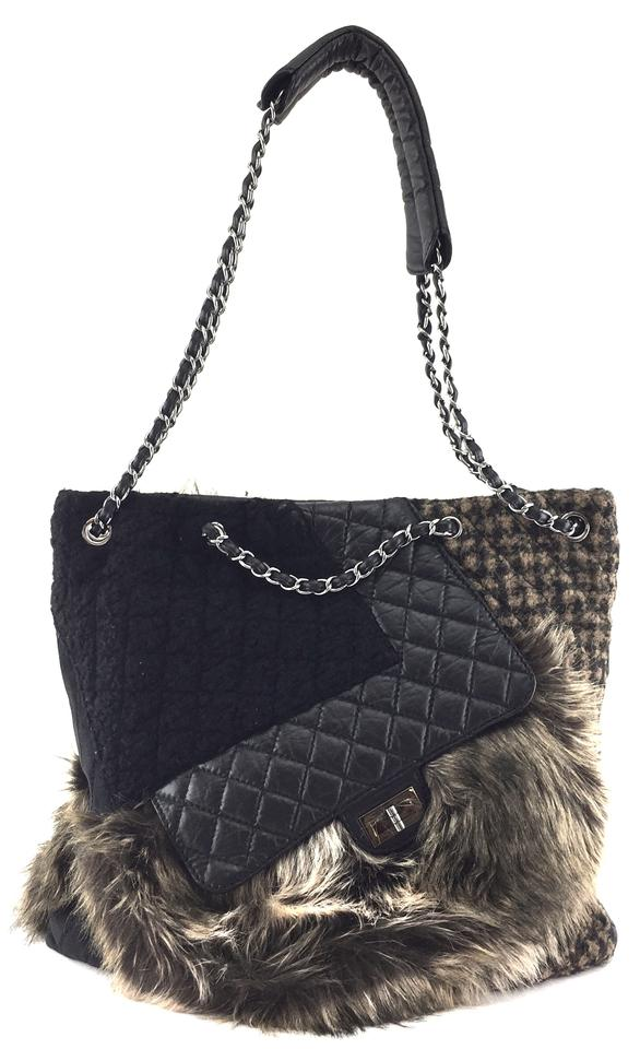 1526977a987 Chanel 2.55 Reissue Cabas #21618 Ultra Rare Karl's Fantasy Tote Fur Tweed  Quilted Black and Dark Brown Leather Shoulder Bag 61% off retail