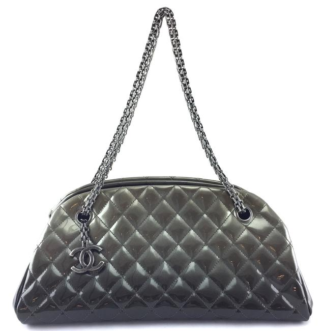Item - Mademoiselle #21623 Just Long Chain Strap Quilted Degrade Ombre Grey Patent Leather Shoulder Bag