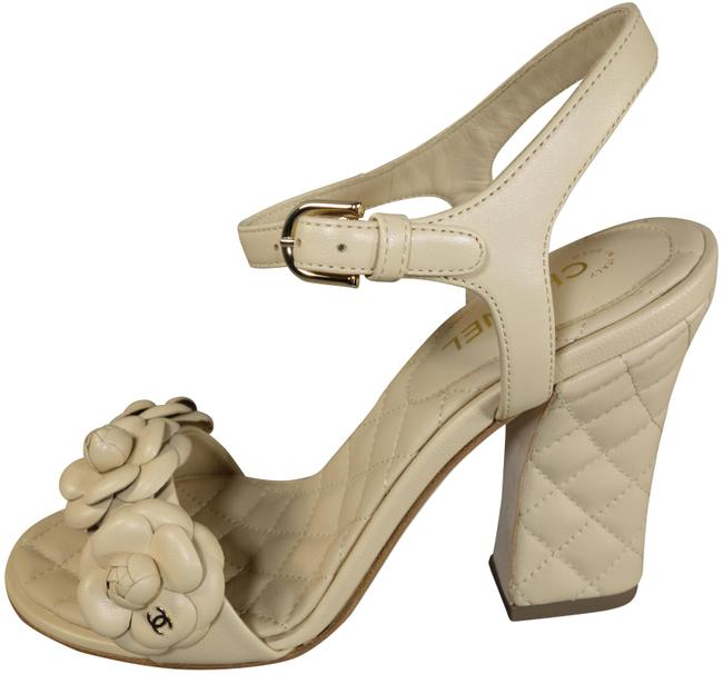 Item - Beige Lambskin Leather Camellia Strap Quilted Stacked Heel Cc New Sandals Size EU 41 (Approx. US 11) Regular (M, B)