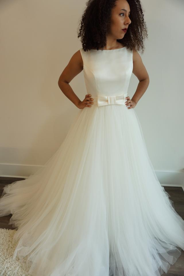 5f1b62da9f62 Rosa Clará Ivory Mikado/Tulle Aida Formal Wedding Dress. Street Size: 10 ...