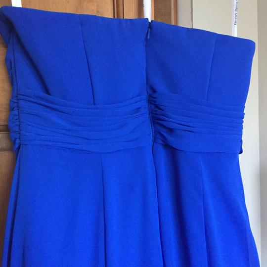 David's Bridal Cobalt Blue Chiffon with Beaded Satin Traditional Bridesmaid/Mob Dress Size 6 (S)