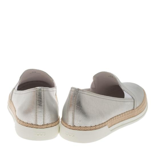 Tod's Silver Leather Espadrille Metallic Athletic
