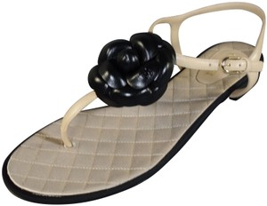 Chanel Beige Black Sandals