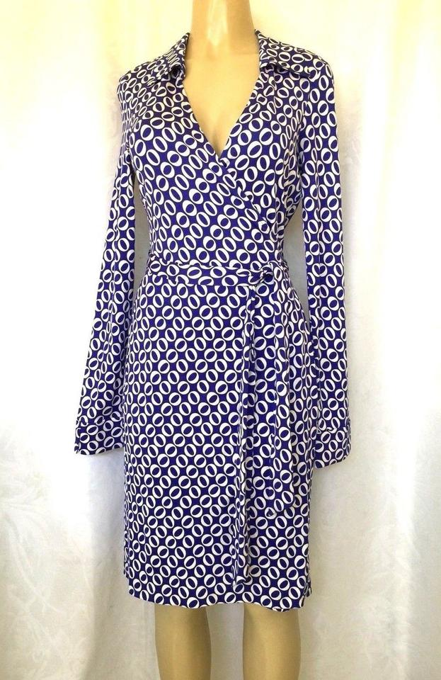Dress White Wrap Sleeve Diane von Long Furstenberg Blue L Casual Dvf Jeanne wPRFTnx