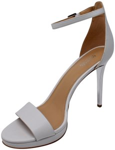 MICHAEL Michael Kors Ankle Strap Leather Metallic Silver White Sandals