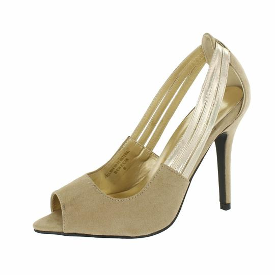 Red Circle Footwear Pointy Peep Toe Nude Pumps