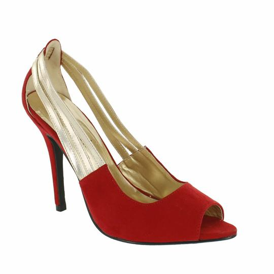 Red Circle Footwear Pointy Peep Toe Red Pumps