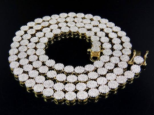 Jewelry Unlimited 10K Yellow Gold Pave 6MM Genuine Diamond Cluster Chain 24 Inches