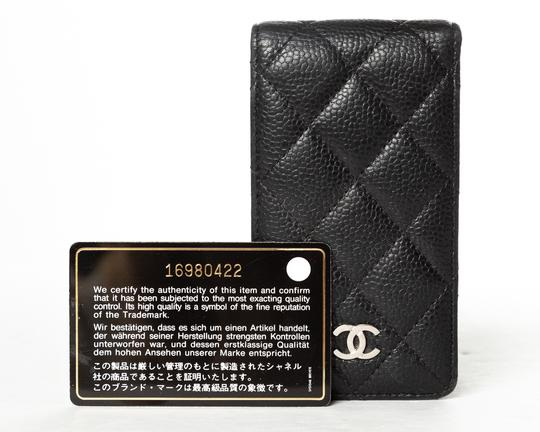 Chanel CHANEL Black Quilted Caviar Leather Phone Case