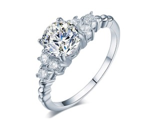 Other 1.75 CTW Princess Cut Halo Cubic Zirconia Rhodium Plated Ring