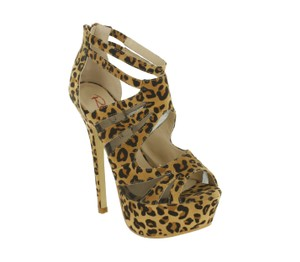 Red Circle Footwear Heel Strappy Sexy Hi Leopard Platforms
