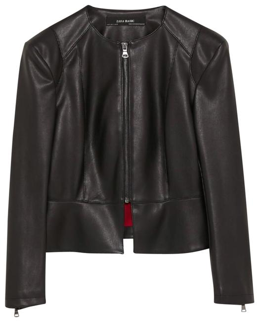 Preload https://img-static.tradesy.com/item/23900028/zara-black-faux-leather-blazer-jacket-size-4-s-0-1-650-650.jpg