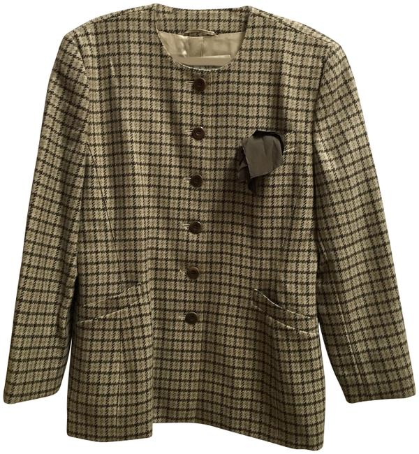 Item - Brown and Cream Plaid Blazer Size 12 (L)