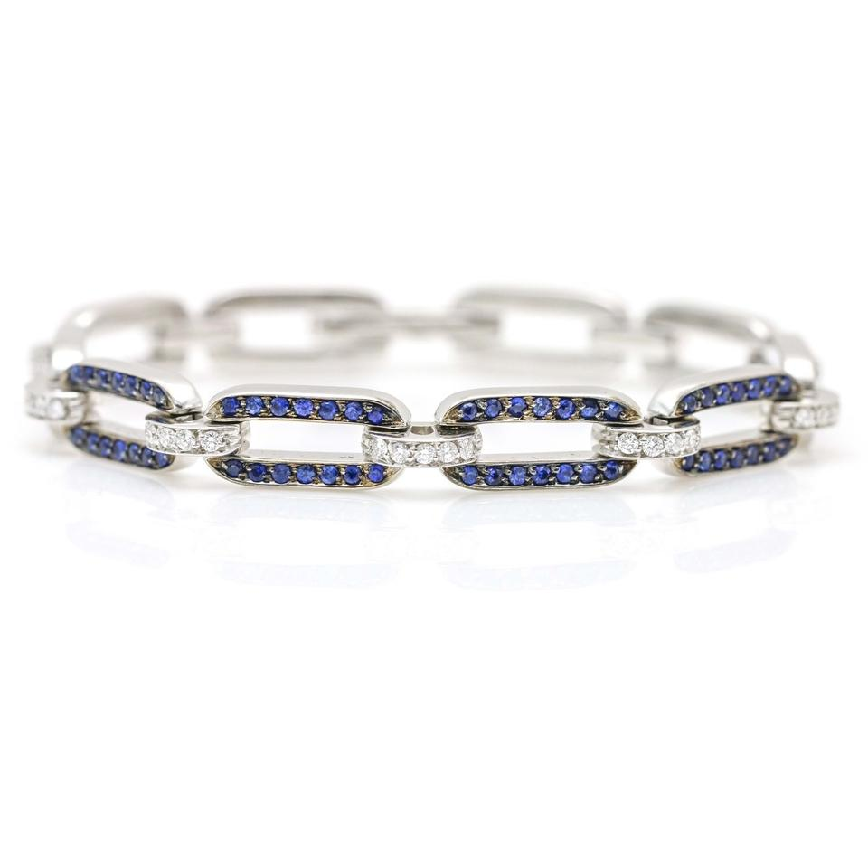 Sidney Garber Blue Diamond And Sapphire Link 18k White Bracelet