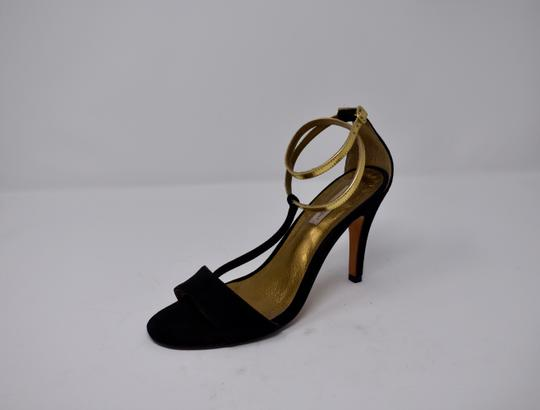 Twelfth St. by Cynthia Vincent Gold Metallic Suede Black Sandals