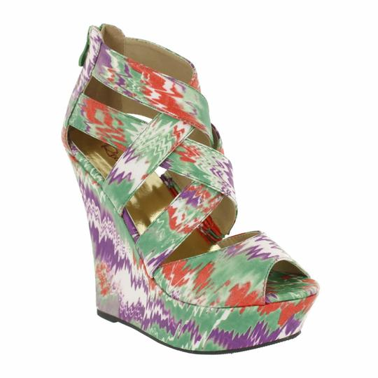 Red Circle Footwear Strappy Print Fabric Green Wedges