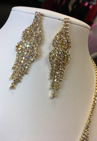 Ab and Gold Crystal Rhinestone Paved Necklace Jewelry Set