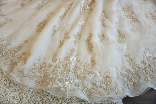 Ysa Makino Blush/Champagne/Gold Organza 68985 Formal Wedding Dress Size 8 (M)