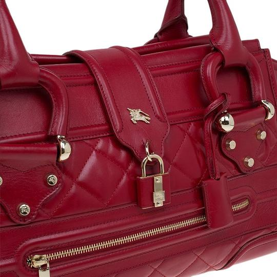 Burberry Quilted Leather Nylon Satchel in Red