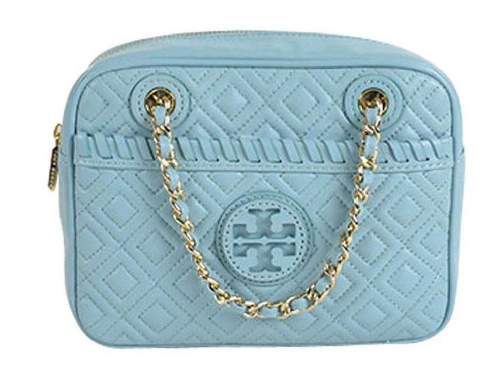 Blue Bag Rare Body Quilted Marion Burch Cross Tory Leather Purse X7xOfKw4