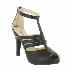Red Circle Footwear Peep Toe Strappy Heel Black Platforms
