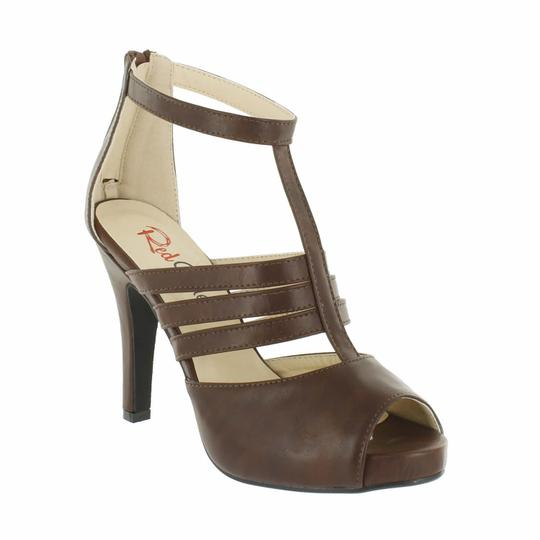 Red Circle Footwear Peep Toe Strappy Heel Brown Platforms