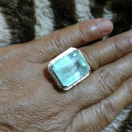 Other SALE* 17.88 CT NATURAL COLOMBIAN EMERALD&DIAMOND 14 K YELLOW GOLD RING