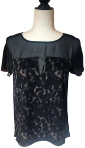 W118 by Walter Baker Chiffon Top Black and Leopard