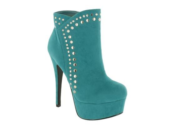 Red Circle Footwear Iron Studs Heel Platform Emerald Boots