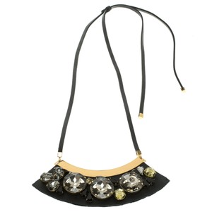 Marni Mercurio Strass Crystal Embellished Leather Collar Necklace