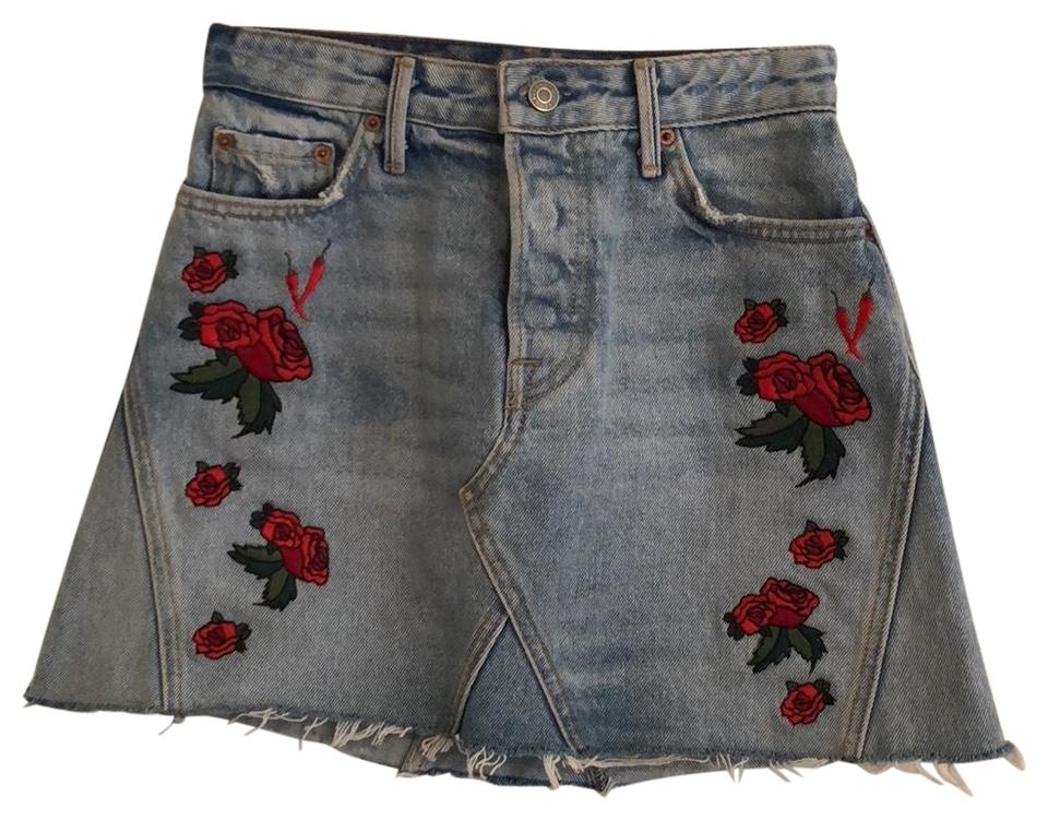 popular stores search for authentic search for newest GRLFRND Denim and Red Revolve Eva A-frame Gusset Skirt Size 00 (XXS, 24)  68% off retail