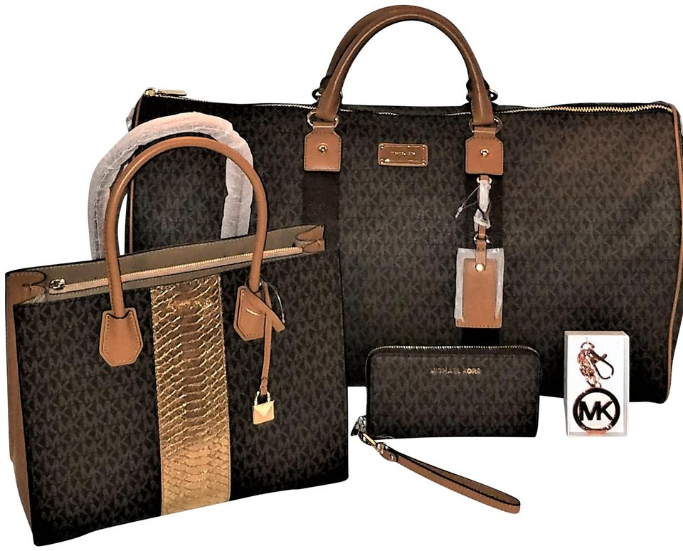 52568a1e34f8 Michael Kors 4 Pc Mk Jet Set Xl Duffle + Mercer Tote + Wallet + Fob Brown  Pvc Weekend Travel Bag