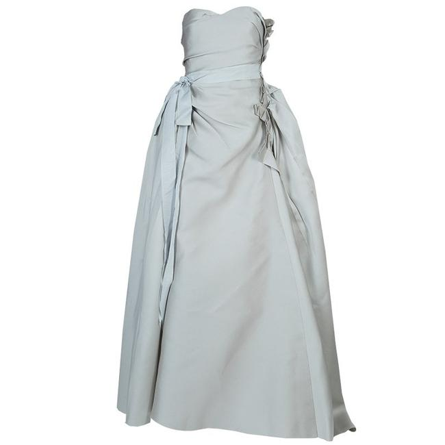 Preload https://img-static.tradesy.com/item/23900696/lanvin-grey-ruched-ruffle-detail-strapless-wedding-gown-s-long-formal-dress-size-2-xs-0-0-650-650.jpg
