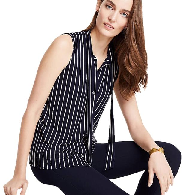 Preload https://img-static.tradesy.com/item/23900715/ann-taylor-stripe-tie-neck-button-front-shell-button-down-top-size-10-m-0-1-650-650.jpg