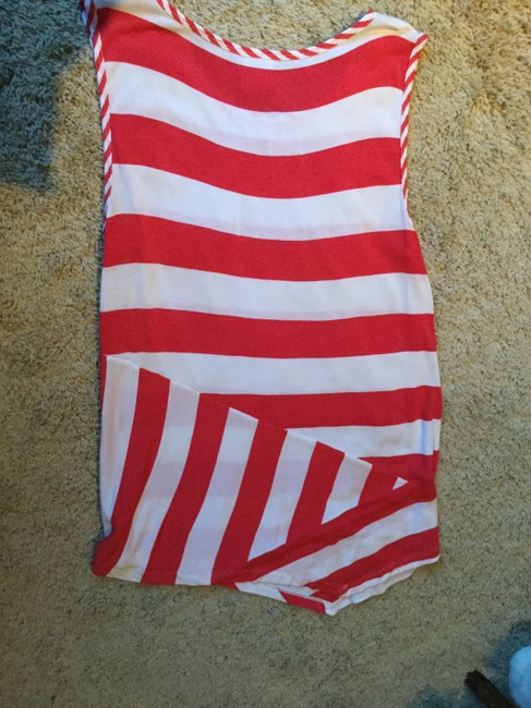 CAbi Asymmetrical Top Red and White Stripes