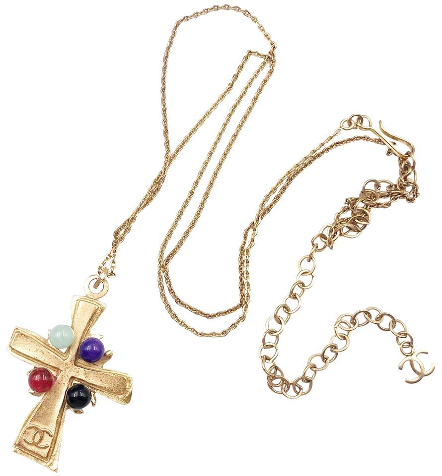 b9bd1be603aa Chanel Chanel Vintage Gold Plated 4 Stone Cross Pendant Necklace Image 0 ...