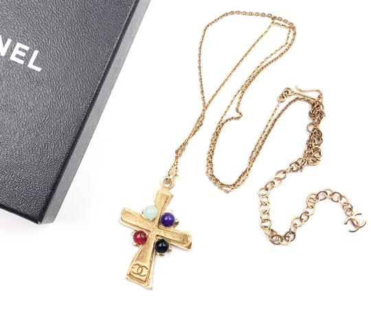 Chanel Chanel Vintage Gold Plated 4 Stone Cross Pendant Necklace