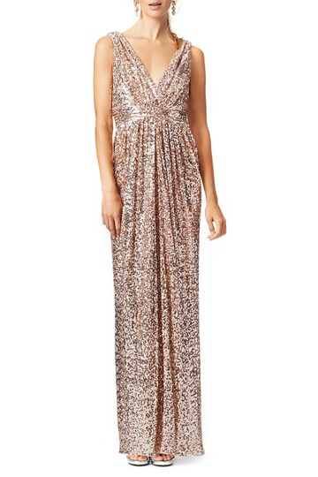 Preload https://item1.tradesy.com/images/badgley-mischka-gold-sequin-belle-sleeveless-v-neck-gown-rose-blush-formal-bridesmaidmob-dress-size--23900805-0-0.jpg?width=440&height=440