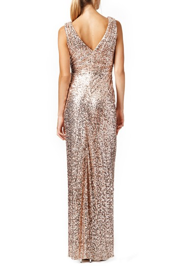 Badgley Mischka Gold Sequin Belle Sleeveless V-neck Gown Rose Blush Formal Bridesmaid/Mob Dress Size 8 (M)