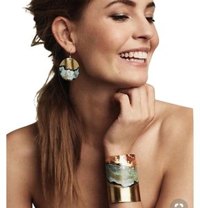 Anthropologie boho oxidized metallic earrings and bracelet set