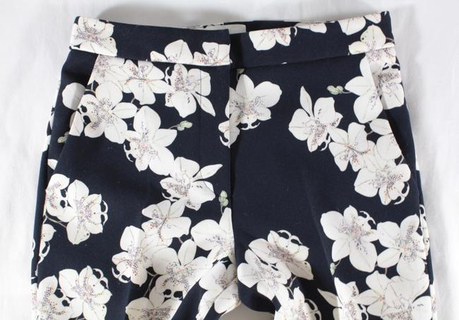 ERDEM Floral Cropped Trouser Pants Navy, White