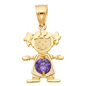 TD Collections 14K Yellow Gold February Birthstone CZ Girl Pendant