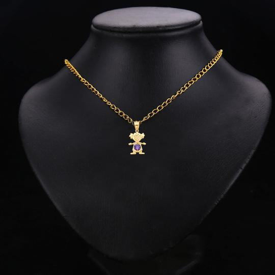 TD Collections 14K Yellow Gold February Birthstone CZ Girl Pendant Image 2